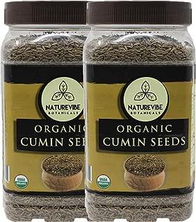 Naturevibe Botanicals Organic Cumin Seed, 2lbs (2 Packs of 1lb each) | Cuminum cyminum L. | Raw, Gluten-Free & Non-GMO | Adds Flavor and Taste.