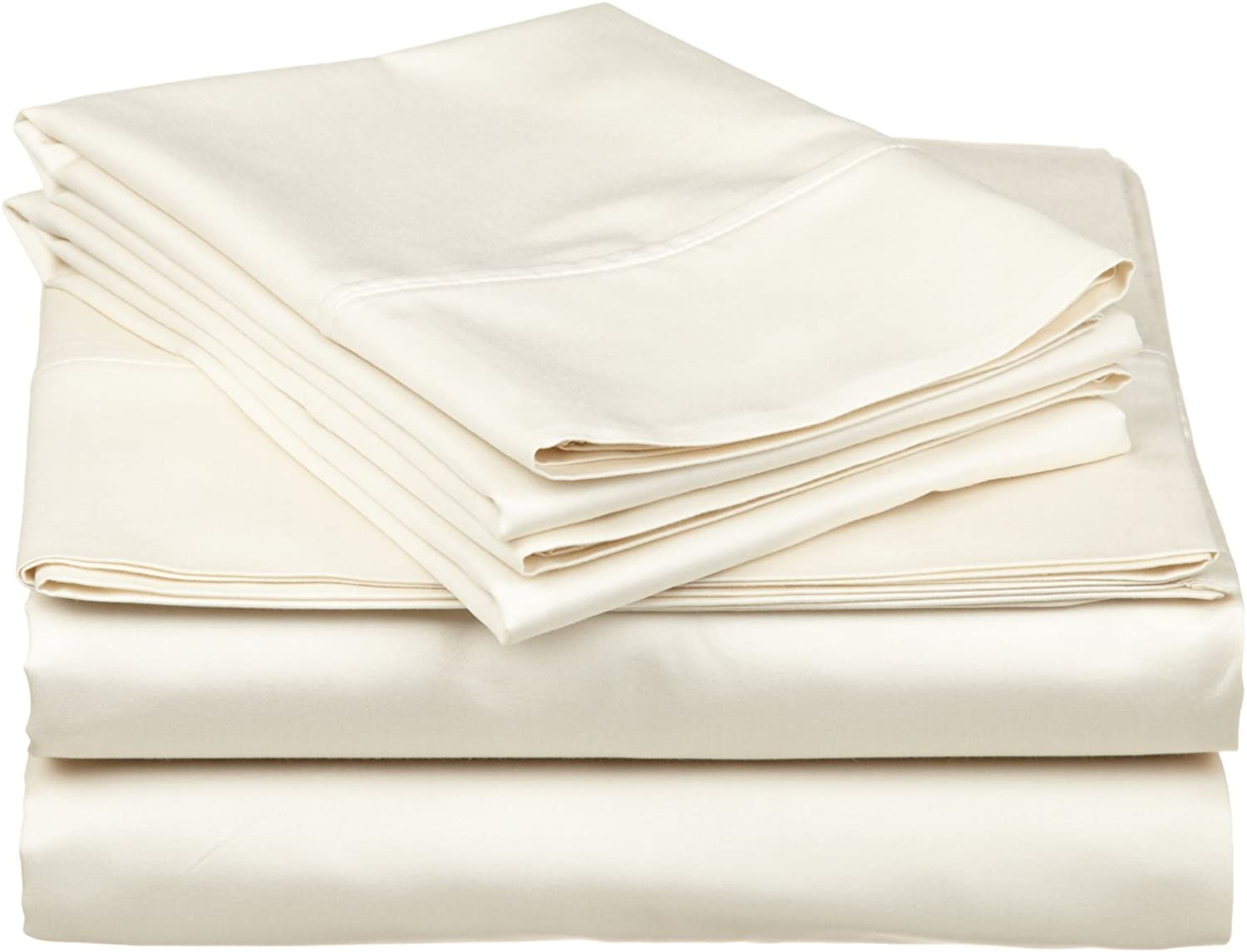 1000 Thread Count 4 Piece Luxurious Sheet Set--100% Egyptian Cotton-- 12  Deep Pocket Ivory Solid 1000--TC (Queen)