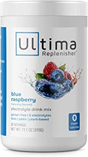 Ultima Hydrating Electrolyte Powder, Blue Raspberry, 90 Servings, no Sugar, 0 Carbs or Calories, Keto, Gluten-Free, Paleo, Non-GMO, Vegan, with Magnesium, Potassium, Calcium