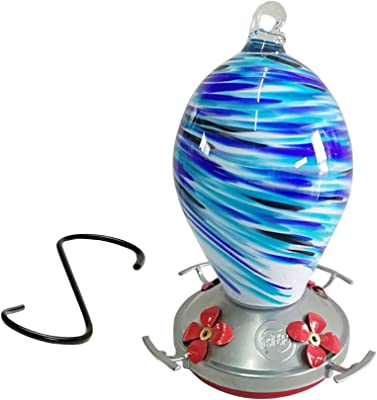 Best Home Products Hummingbird Feeder - Blown Glass - Blue Swirl - 24 Fluid Ounces