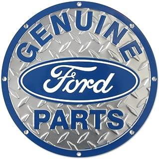 Ford Genuine Parts Diamond Plate Die-Cut Round Tin Sign