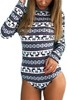 Women's Christmas Printed Long Sleeve Stretchy Bodysuit Bodycon Leotard Rompers Jumpsuits Tops