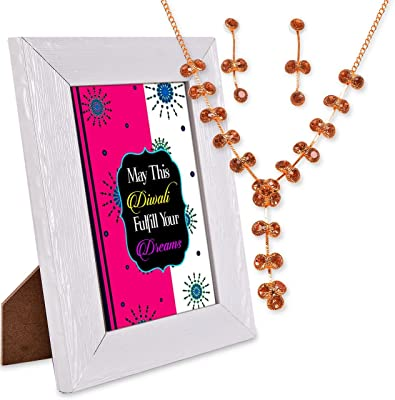 May This Diwali Fulfill Your Dreams Necklace, Quotation Photo Frame Hamper
