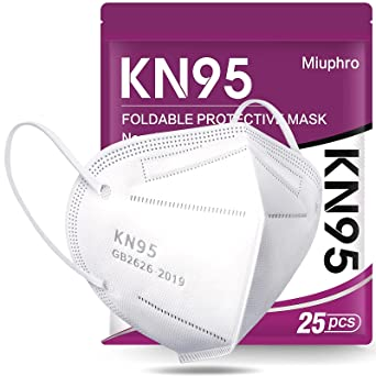 KN95 Face Mask - Miuphro White KN95 Disposable Face Mask 5-Ply Protection for Outdoor, Indoor 25 Pack
