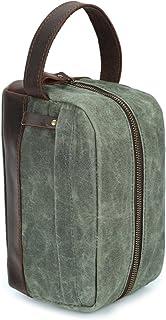 MEICHENG-DZ Mode Herren Handtasche Öl Wachs Canvas Wash Bag Retro männlichen Beutel Handtasche mit Leder Handgelenk Tasche Leder Color : Bronze, Size : S