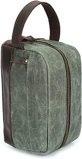 Men's Bag Men's Handbag Oil Wax Canvas Wash Bag Retro Male Bag Hand Bag With Wrist Bag (Color : Bronze, Size : S)