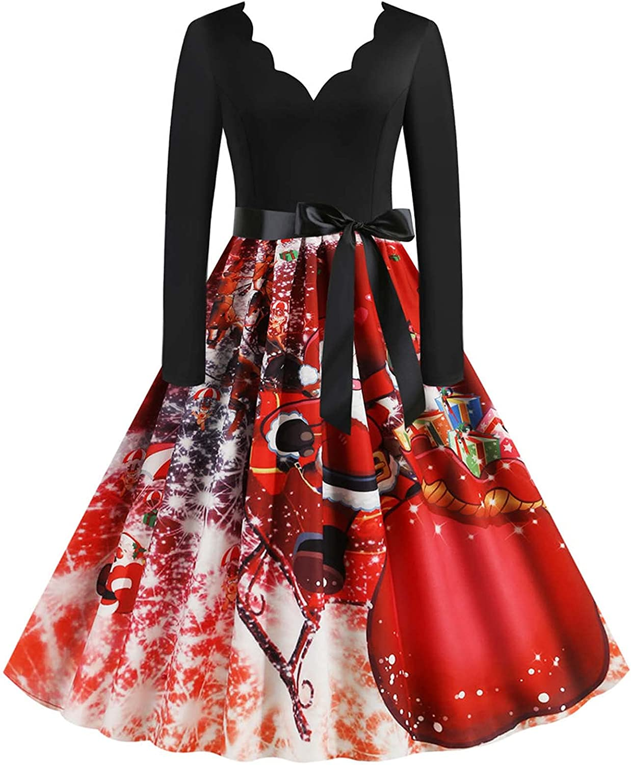 CofeeMO Womens V Neck Long Sleeve Christmas Maxi Dress Sexy Party Printed Cocktail Vintage Patchwork with Belt 33