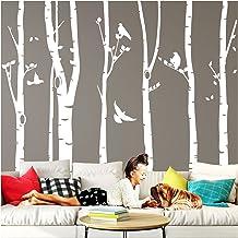 Wandaro W3327 Muurtattoo XXL berkenstammen I Taupe (B x H) 267 x 250 cm I berk vogels bomen hal sticker woonkamer muurstic...