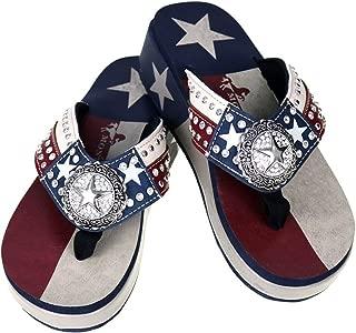 Ladies Flip Flops Texas Lone Star Flag Navy Blue