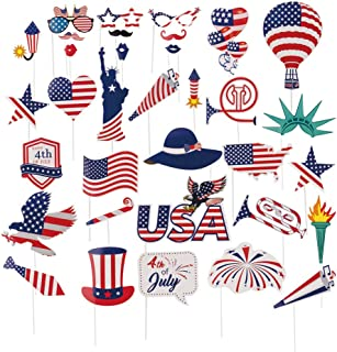 American Independence Day Photo Booth Props, 4th Of July Photo Veteran's Day Party Decorations