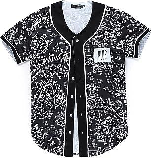 YouLpoet Herren Baseball Trikot, Hip-Hop Shirt Button Down Team Uniform T-Shirt Casual Sport Kurzarm