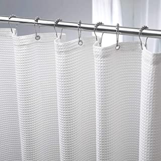 AmazerBath Waffle Weave Fabric Shower Curtain, Matt Polyester Shower Curtain Hotel Luxury Shower Curtain for Bathroom, Cloth White Shower Curtain Machine Washable 230GSM Heavy Duty, 72 x 72 Inches