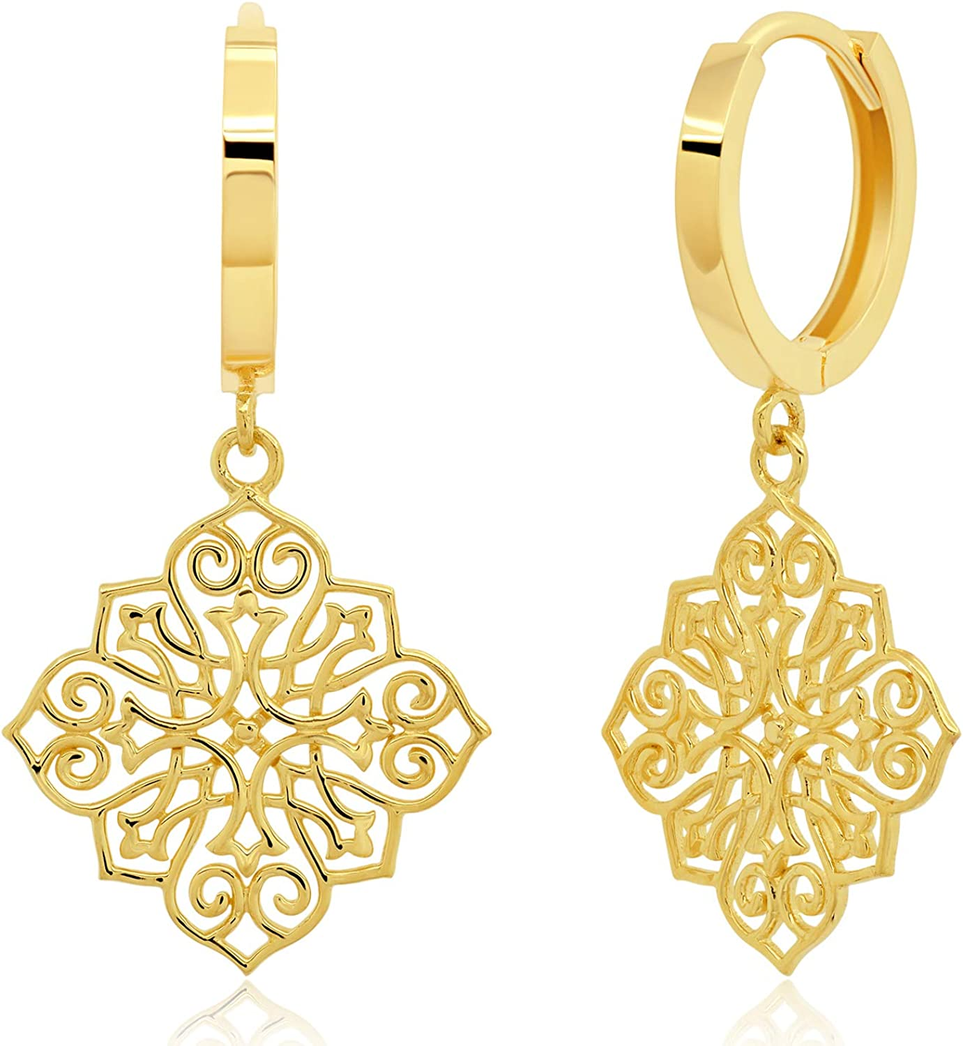 14K Solid Yellow Gold Max 70% OFF Huggie Selling and selling Dangle with Hoop Filigree Earrings