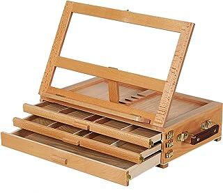 MEEDEN Artist Tabletop Sketchbox Easel- Multi-Function Adjustable Beech Wood Sketch Box Easel with 3-Drawer for PleinAir A...