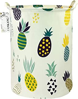FANKANG Storage Bins Nursery Hamper Canvas Laundry Basket Foldable with Waterproof PE Coating Large Storage Baskets Gift Baskets for Kids Boys and Girls, Office, Bedroom, Clothes,Toys (Pineapple)