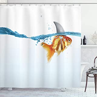 Ambesonne Sea Animal Decor Shower Curtain by, Goldfish in Water with Shark Fin Scary Predators Tricky Humor Fun Image, Fabric Bathroom Decor Set with Hooks, 70 Inches, Orange Blue