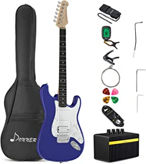 Donner DST-100L Full-Size 39 Inch Electric Guitar Sapphire Blue with Amplifier, Bag, Capo, Strap, String, Tuner, Cable and Pick