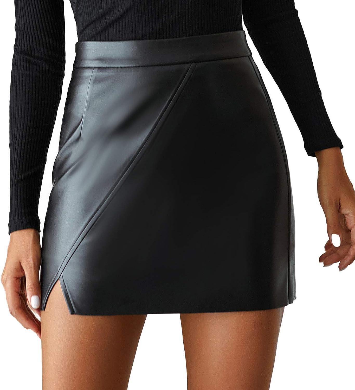 Bolivelan Women's Faux Leather Mini Pencil Skirt