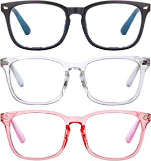Blue Light Blocking Reading Glasses, Women/Men Anti UV Ray Readers Nerd Eyeglasses Lightweight Eyeglasses Computer Eyeglasses (Transparent+Black+Pink, 2.5 x)
