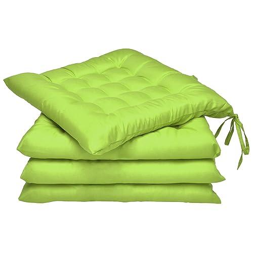 Beautissu Lot de 4 galettes de Chaise Lea - Confortable et coloré - Idéal pour intérieur et extérieur - 40x40x5 cm - Vert Pomme