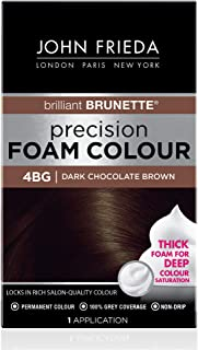 John Frieda Precision Foam Color, Dark Chocolate Brown 4BG, Full-coverage Hair Color Kit, with Thick Foam for Deep Color Saturation