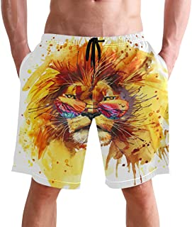 FFY Go Beach Shorts, Cool Lion with Glasses Printed Mens Trunks Swim Short Quick Dry with Pockets for Summer Surfing Board...