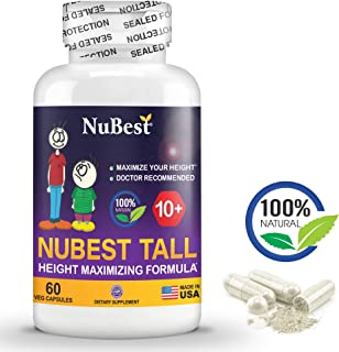 Maximum Natural Height Growth Formula - NuBest Tall 10+ - Herbal Peak Height Pills - Grow Taller Supplements - 60 Capsules - Doctor Recommended