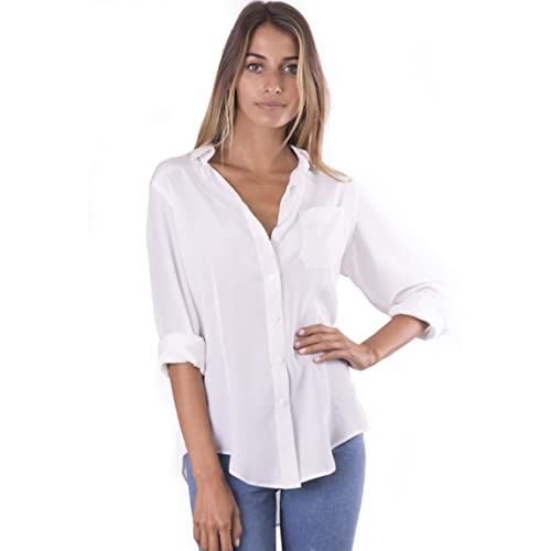 575c608e CAMIXA Womens 100% Silk Blouse Long Sleeve Ladies Shirts Slim-fit Button Up  Pure