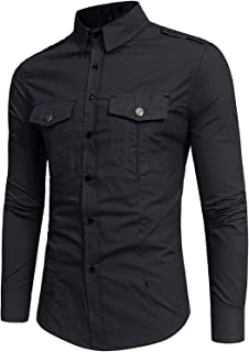 ZEROYAA Mens Tactical Epaulet Style Slim Fit Long Sleeve Casual Button Down Shirts with Pocket