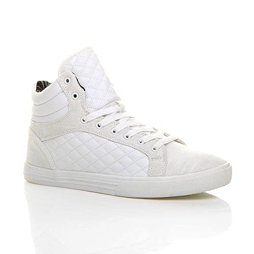 Mens flat lace up quilted casual hi high top ankle boots trainers sneakers  size fc38cbe7a