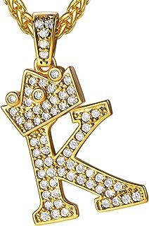"U7 Bling Alphabet نام جواهرات مردان CZ گردنبند اولیه تاج دار یخ زده تاج خانم تاج 18k طلا و جواهر مکعب زیرکونیا با روکش طلا 3mm 22 ""گردنبندهای زنجیره ای طناب ، از A تا Z"