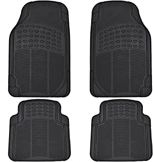 BDK All Weather Rubber Floor Mats for Car SUV & Truck - 4 Pieces Set (Front & Rear), Trimmable, Heavy Duty Protection (Black) (MT-654-BK_aces)