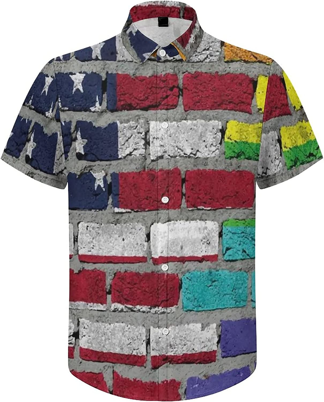 Mens Button Down Shirt Rainbow Brick Wall Casual Summer Beach Shirts Tops
