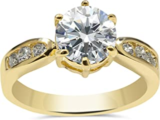 Nessy Designs Elegant Cubic Zirconia Engagement Ring for Women, Prong-Set Shimmering Clear Solitaire Gem with Six Classic Pavé Gems on 18k Yellow Gold Plated Band Set, Beautiful Wedding