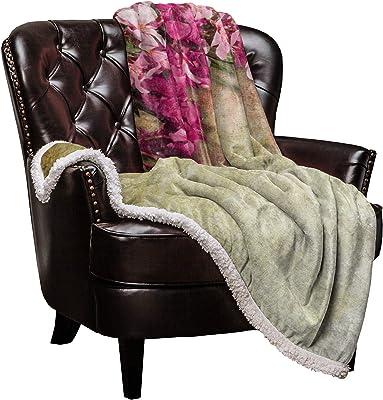 Cloud Dream Home Sherpa Fleece Throw Blanket Summer Flowers Petals 50x60 inch Fluffy Plush Warm Blanket All Season Cozy Blanket for Baby Kids Adults Vintage Texture