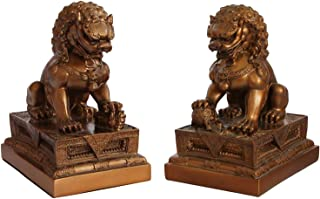 Chinese Guardian Foo Dogs Statue Pair in Bronze Tone | Pair of Two Guardian Fu Lions for Home | Indoor Placement | Feng Shui Decor
