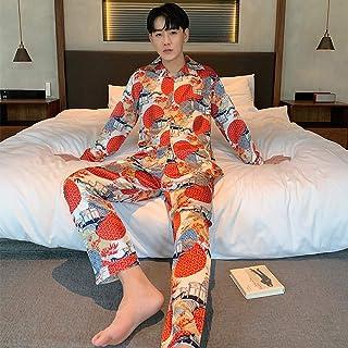 CIDCIJN Mens Long Sleeve Sleepwear Set,Men'S Pajamas Set Autumn Winter Elastic Waist Men Sleepwear Silk Men'S Long Sleeve ...