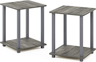 Furinno 12127GYW/GY Simplistic End Table, Set of Two, French Oak Grey