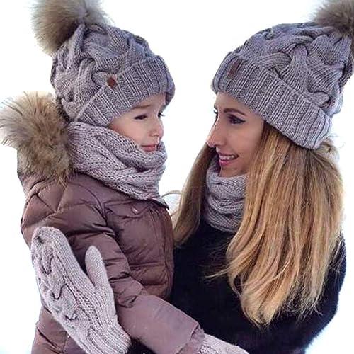 0d62f9a1712 2PCS Mother Baby Hat Family Matching Cap Winter Warmer Knit Wool Beanie Ski  Cap