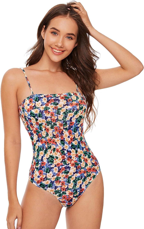 Milumia Women's Sexy Spaghetti Strap Floral Print Cami Bodycon Bodysuit Shirt Tops