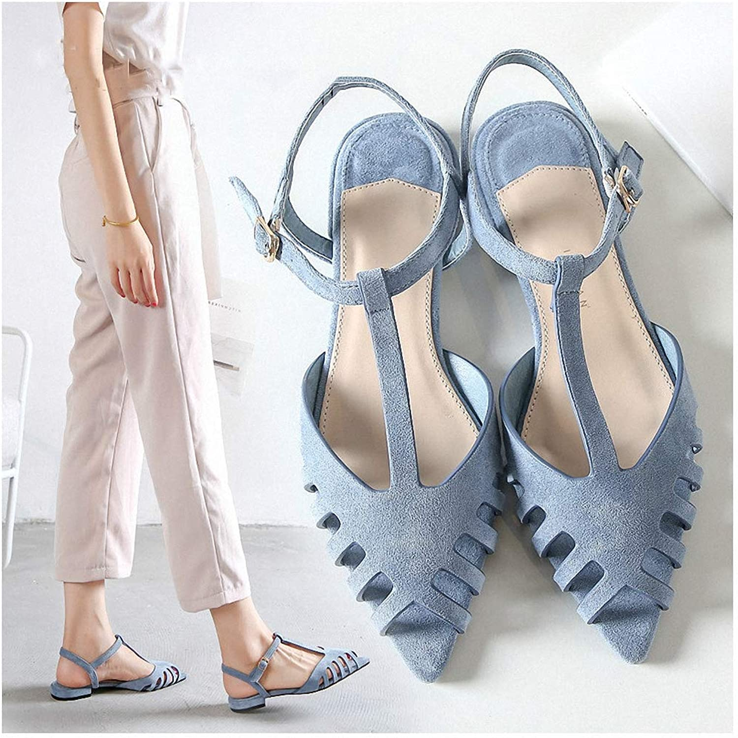 Tebapi Womens Low-Heeled Sandal shoes New Spring and Summer Spike Flat-Heeled shoes Women's Slippers Hollow-Out Women's shoes