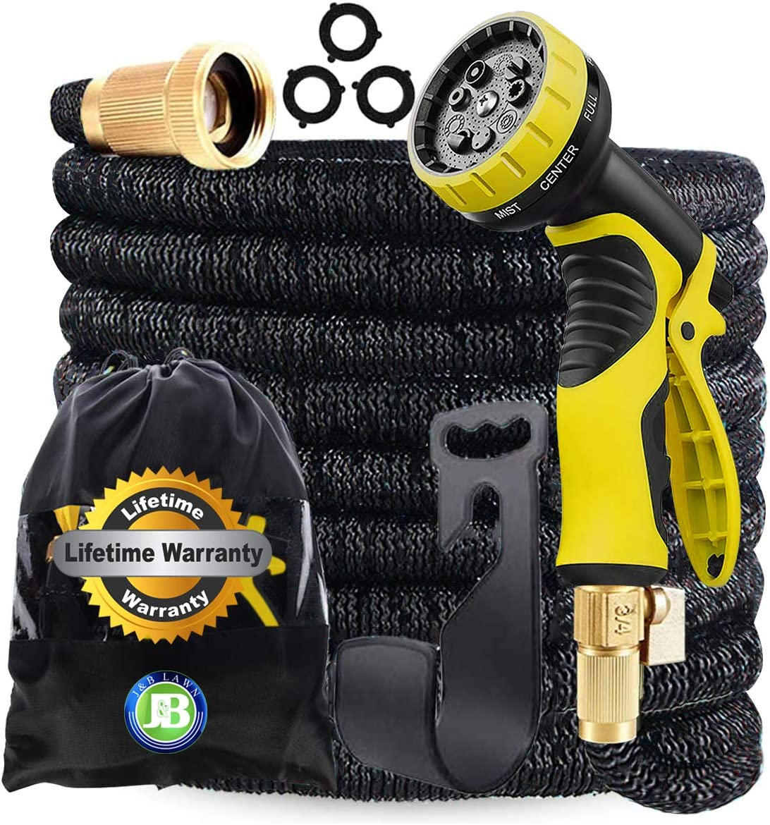 J&B XpandaHose 75ft Expandable Garden Hose with Holder - Heavy Duty Superior Strength 3750D - 4 -Layer Latex Core - Extra Strong Brass Connectors and 10 Spray Nozzle w/Storage Bag (Black 75)