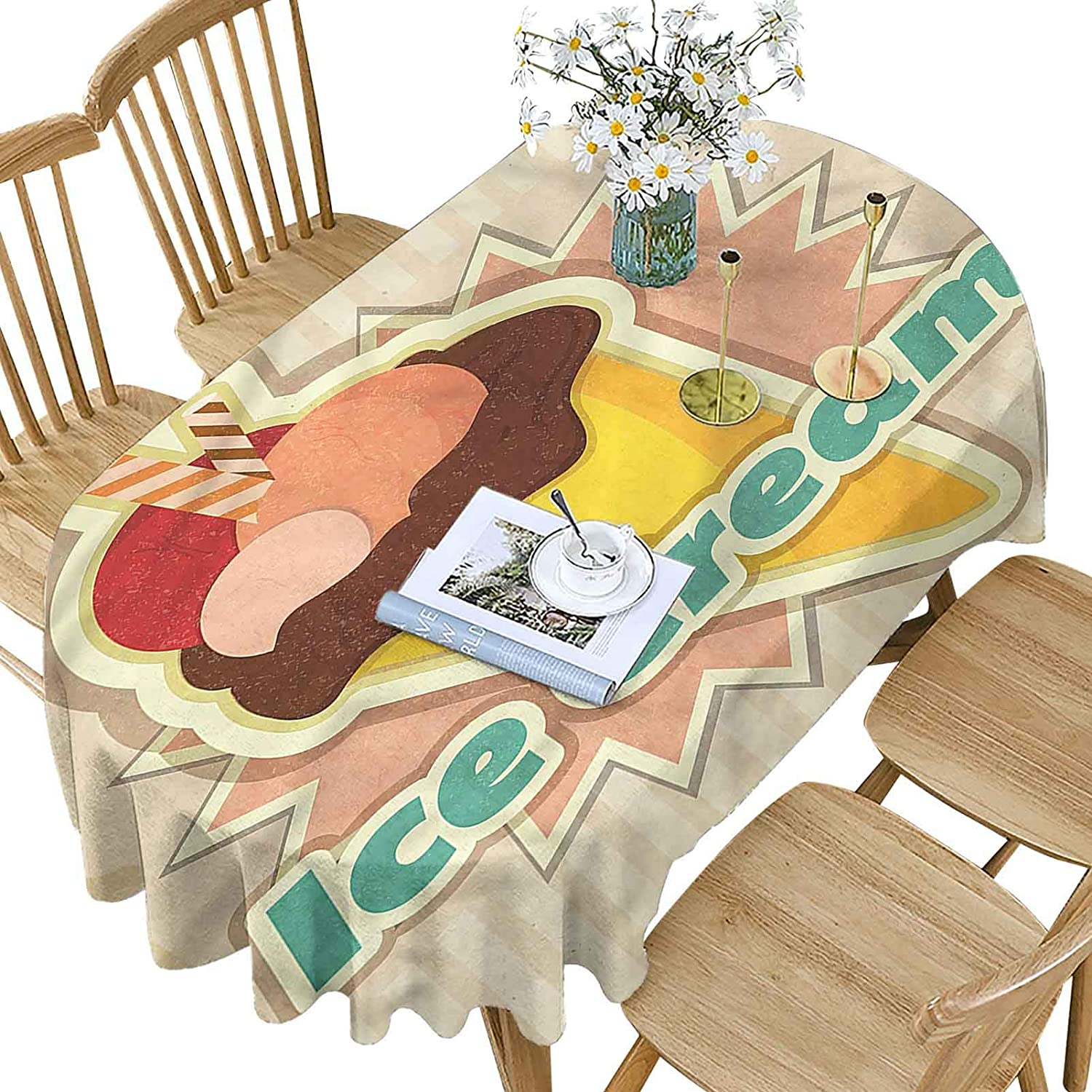 Hiiiman trust Ice Cream Polyester Oval Vintage Tablecloth Patter Large special price Funky
