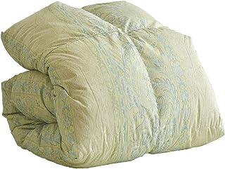 タンスのゲン 羽毛布団 シングルロング ロイヤルゴールドラベル 日本製 首元暖か襟丸製法 ホワイトダックダウン93% 400dp以上 かさ高165mm以上 消臭 除菌 防カビ 柄ブルー 10419204 BL