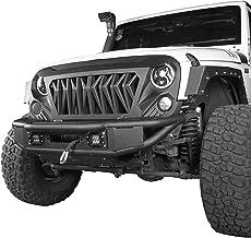 Hooke Road Jeep Tubular Front Bumper w/Winch Plate & LED Lights for 2007-2018 Jeep Wrangler JK & Unlimited