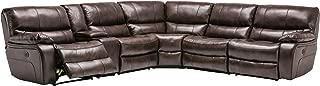 Blackjack Furniture Sectional Leather Match, Power Sofa, Dark Brown