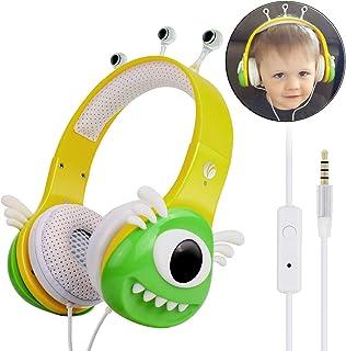 VCOM Kids Headphones, Adjustable Over Ear Boys Girls Earphones Music Children Friendly Toddler School Headsets for iPad Computer Laptop Tablet Smartphone Cellphone iPhone Samsung Android-Green/Yellow
