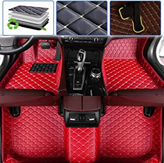 Custom Car Floor Mats for Volkswagen VW Touareg 2008-2010, 2011-2018, 2019 Luxury Leather Waterproof Anti-Skid Full Coverage Liner Front & Rear Mat/Set (red)