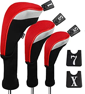 Andux 3pcs/Set Golf 460cc Driver Wood Head Covers with Long Neck and Interchangeable No. Tags Pack of 3