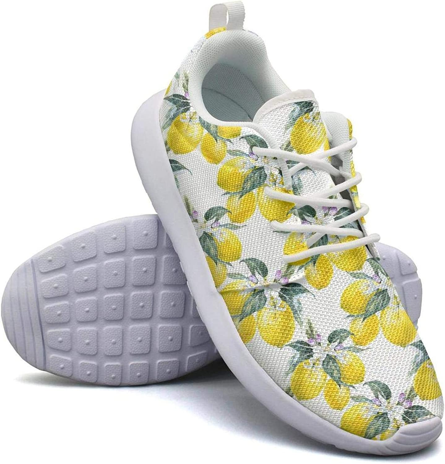 CHALi99 Breathable Female's Lightweight Mesh shoes Lemon with Little Butterfly Sneakers Outdoor Rubber Sole